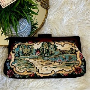 Vintage tapestry clutch w/ brown lucite closure